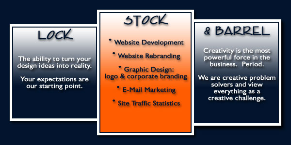 LOCK, STOCK & BARREL - The ability to turn your design ideas into reality.  Your expectations are our starting point.  Creativity is the most powerful force in business.  We are creative problem solvers and view everything as a challenge.